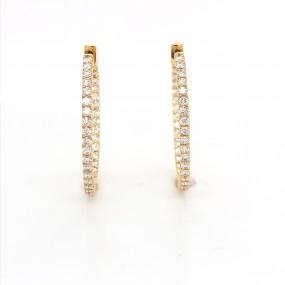 18kt Yellow Gold Diamond Hoops