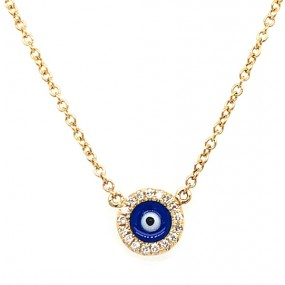 14kt Yellow Gold Diamond Evil Eye Necklace