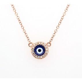 14kt Rose Gold Diamond Evil Eye Necklace