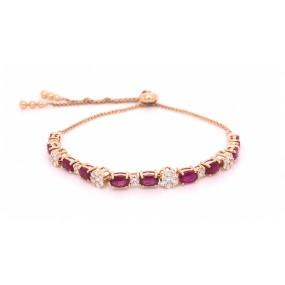 18kt Rose Gold Diamond And Ruby Bracelet