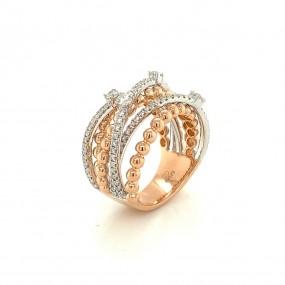 18kt Rose And White Gold Diamond Ring