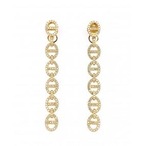 18kt Yellow Gold Diamond Dangling Earrings