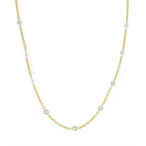 18kt White And Yellow Gold Diamond By The Yard Necklace
