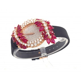 18kt Rose Gold Diamond And Ruby Watch