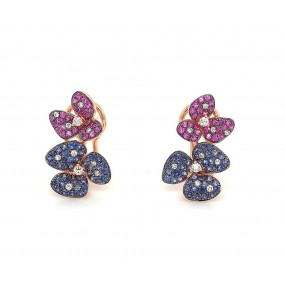 18kt Rose Gold Diamond And Sapphire Earrings