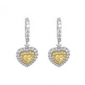 18kt White And Yellow Gold Diamond Earrings