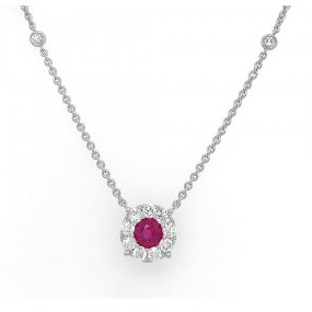 18kt White Gold Diamond and Ruby Necklace