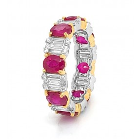 18kt White And Yellow Gold Diamond And Ruby Band
