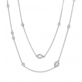 18kt White Gold Diamond By The Yard Necklace