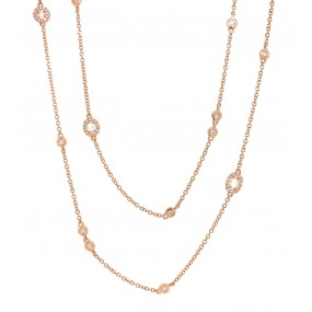 18kt Rose Gold Diamond By The Yard Necklace