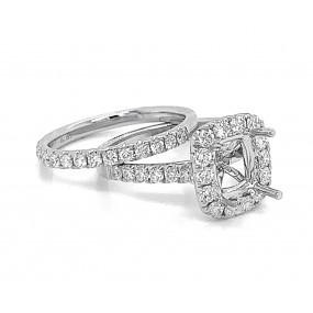 18kt White Gold Diamond Semi Mount With Matching Band