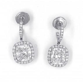 18kt White Gold Diamond Dangling Earrings