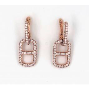 18kt Rose Gold Diamond Dangling Earrings