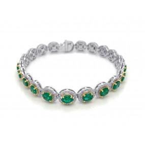 18kt White And Yellow Gold Diamond and Emerald Bracelet