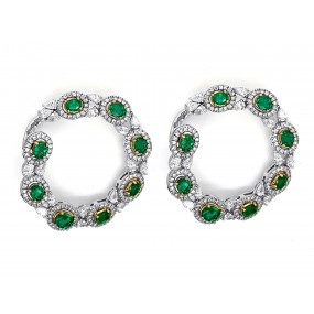 18kt White and Yellow Gold Diamond and Emerald Earrings