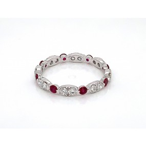 18kt White Gold Diamond and Ruby Band