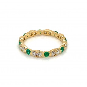 18kt Yellow Gold Diamond and Emerald Eternity Band