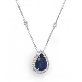 18kt White Gold Diamond and Blue Sapphire Neckace