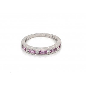 18kt White Gold Diamond and Pink Sapphire Band