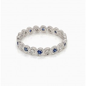 18kt White Gold Diamond and Blue Sapphire Band