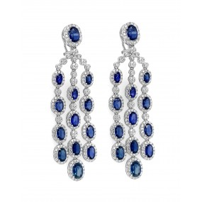 18kt White Gold Diamond and Sapphire Earring