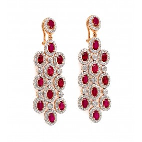 18kt Rose Gold Diamond And Ruby Earring