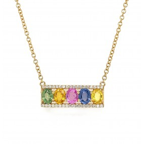 18kt Yellow Gold Diamond And Sapphire Necklace