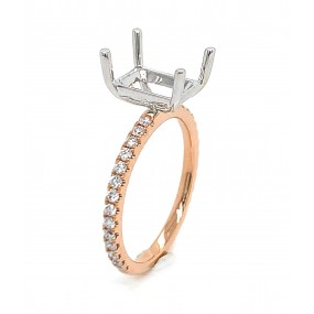 18kt White and Rose Gold Diamond Semi Mount