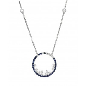 18kt White Gold Diamond and Sapphire Necklace