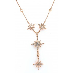 18kt Rose Gold Diamond By The Inch Necklace
