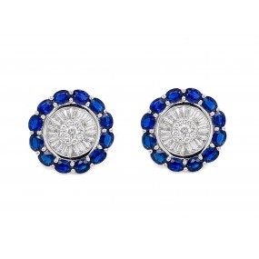18kt White Gold Diamond and Sapphire Earrings