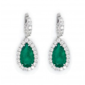 18kt White Gold Diamond and Emerald Earring