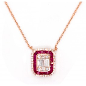 18kt Rose Gold Diamond And Ruby Necklace