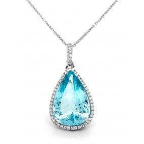 18kt White Gold Diamond and Aqua marine Pendant