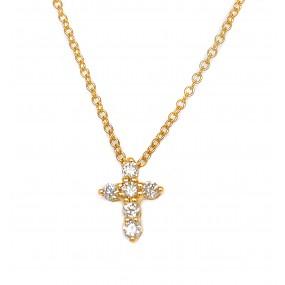 18kt Yellow Gold Diamond Cross
