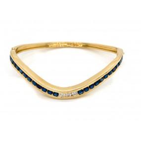 18kt Yellow Gold Diamond And Sapphire Bangle