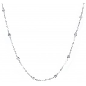 18kt white gold diamond-by-the-inch necklace