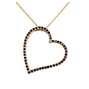 14kt Yellow Gold Diamond and Sapphire Pendant