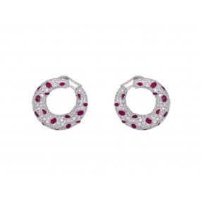 18kt White Gold Diamond And Ruby Earrings
