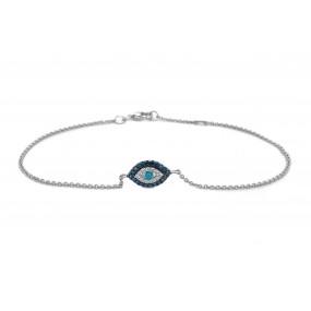 14kt White Gold Diamond and Sapphire Bracelet