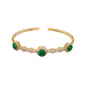 18kt Yellow Gold Diamond And Emerald Bangle