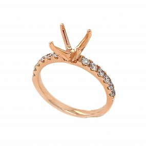 18kt Rose Gold Diamond Semi-mount