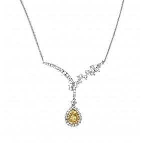 18kt White Gold Yellow Diamond Pendant