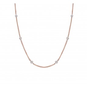 18kt White And Rose Gold Diamond-By-The-Inch Necklace