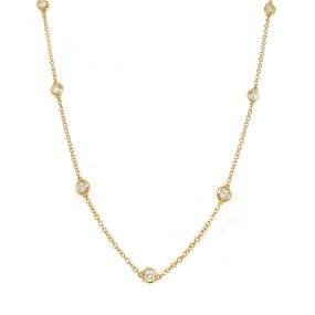 18kt Yellow Gold Diamond-By-The-Inch Necklace