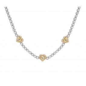 18kt White Gold Yellow Diamond Necklace