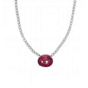 18kt White Gold Diamond and Rubellite Necklace