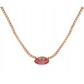 18kt Rose Gold Diamond And Tourmaline Necklace