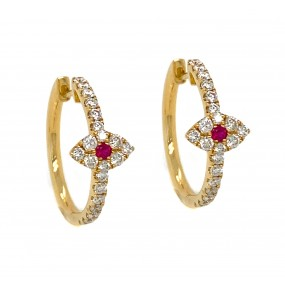 18kt Yellow Gold Diamond And Ruby Earrings