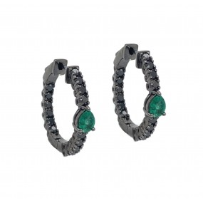 18kt Black Gold Diamond and Emerald Earrings